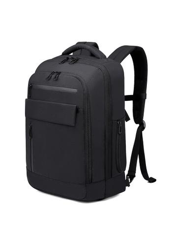 Golden Wolf black Bange Revo Laptop Backpack 53606AC76F6D27GS_1