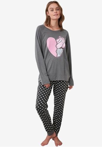 Trendyol grey Polka Dot Printed Knit Pajamas Set 173C7AA565B9C3GS_1