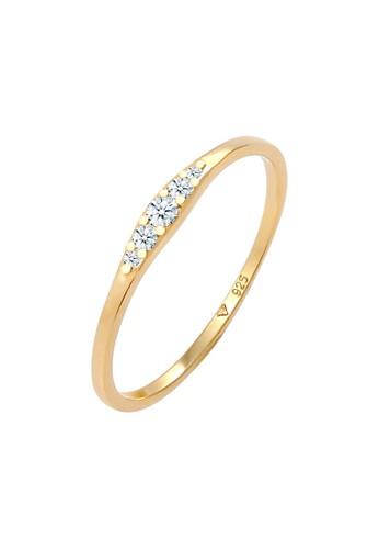 Elli Germany white Perhiasan Wanita Perak Asli - Silver Cincin Engagement Diamond Lapis Emas 52F1AAC889494FGS_1