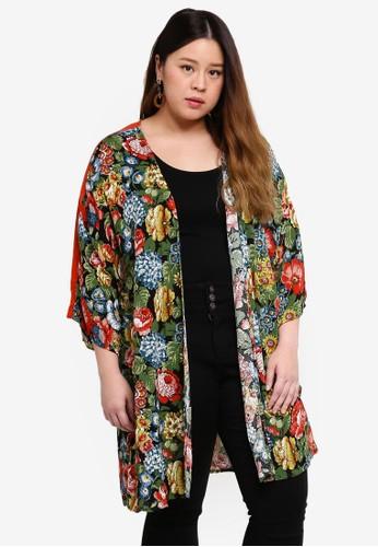Only CARMAKOMA multi Plus Size Printed Kimono D736FAA796C2F3GS_1