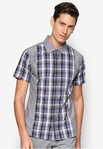 拼色格紋短袖襯衫, 服飾esprit hk, 襯衫