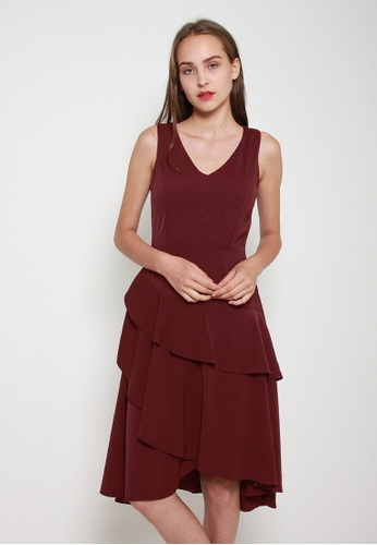 Leline Style red Anya Ruffles Dress 76EDFAA8731692GS_1