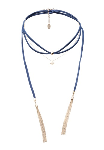 Orelia London blue Suede & Evil Eye Multi Layered Choker OR747AC0SC32MY_1
