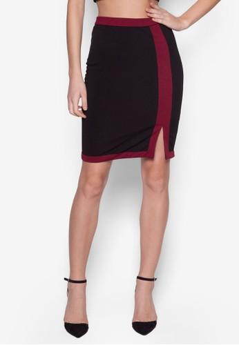 Colzalora 折扣碼lection Contrast Slit Midi Skirt, 服飾, 裙子