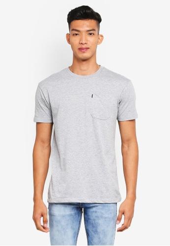Penshoppe 灰色 寬鬆素色短袖口袋T恤 519D0AA488B9C8GS_1