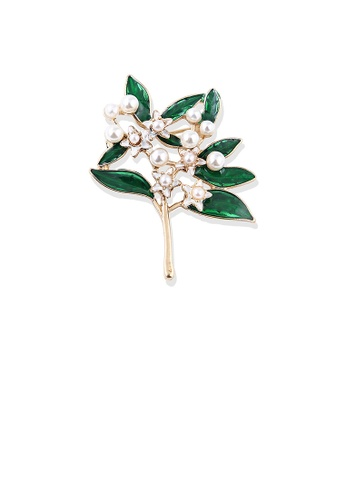 Glamorousky white Fashion and Elegant Plated Gold Gardenia Flower Imitation Pearl Brooch F769CAC2EF7BA4GS_1
