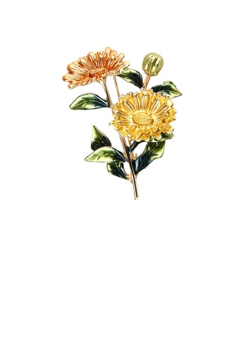Glamorousky silver Fashion and Elegant Plated Gold Enamel Yellow Flower Brooch AD638ACFABF0F5GS_1