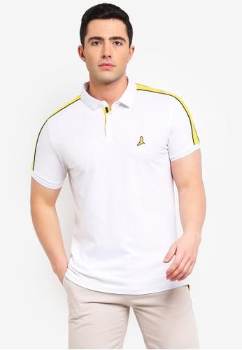Brave Soul white Goldin Rib Collar Polo Shirt 0C356AA2E43007GS_1