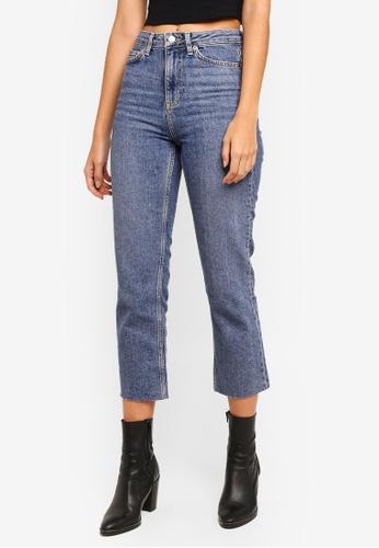 TOPSHOP 藍色 Moto Blue Raw Hem Straight Leg Jeans B6FFCAAC681A53GS_1