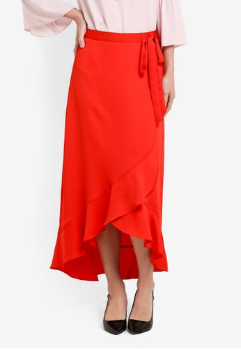 Dorothy Perkins red Red Wrap Ruffle Maxi Skirt DO816AA51UYIMY_1