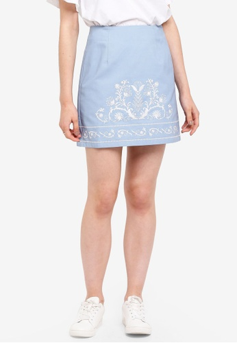 Something Borrowed blue Embroidered High Waist Skirt 3B48EAA5E86C74GS_1