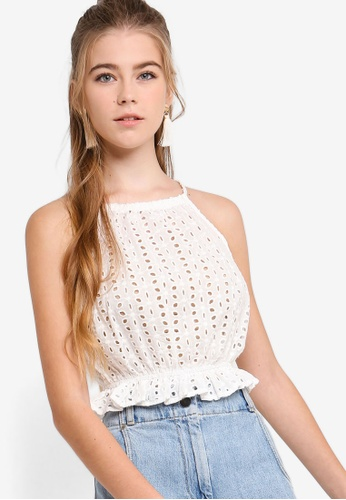 Something Borrowed white Cotton Eyelet Cut In Crop Top 10A03AA248C119GS_1