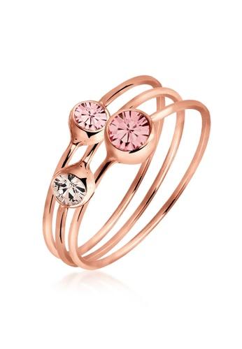 ELLI GERMANY pink Elli Germany Ring Set 925 Silver Swarovski Crystals Rosegold Plated 0FB60ACC794DB4GS_1