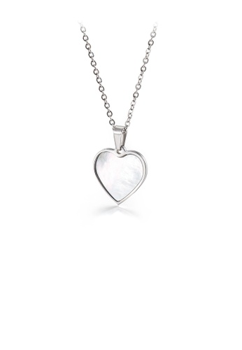 Glamorousky silver Simple and Romantic Shell Heart-shaped 316L Stainless Steel Pendant with Necklace 0F01DAC4C0806CGS_1