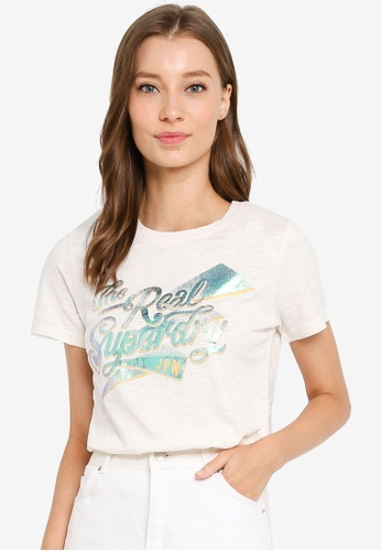 SUPERDRY white The Real Bolt Foil Entry Tee ADC9EAA6FF1808GS_1