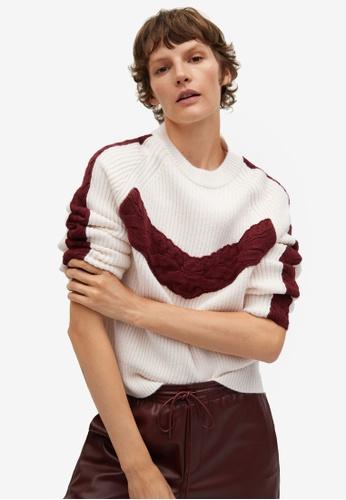 Mango beige Contrasting Knit Sweater 6712DAA0ABA7D0GS_1