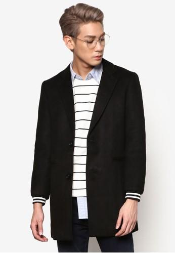 雙鈕運動風毛氈長版esprit 中文外套, 服飾, 外套