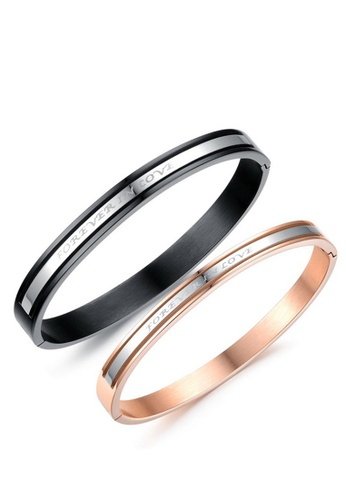 Trendyshop black and gold Forever Love Couple Bangle Set CF8BFACD7668C2GS_1
