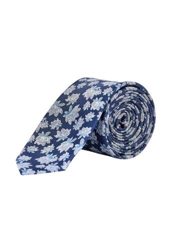 Burton Menswear London 海軍藍色 Navy Cream Floral Tie 16341AC943ED90GS_1