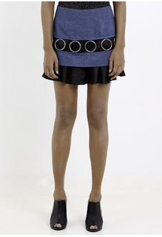 [PRE-ORDER] Denim Mini Skirt With Metal Rings And Charmeuse Panel