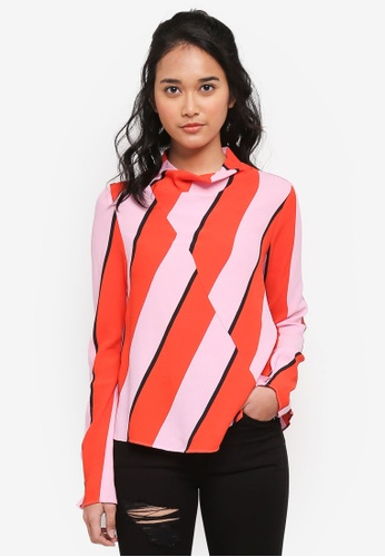 TOPSHOP pink High Neck Bold Stripe Blouse 1BB26AAAD58728GS_1