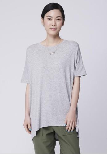 彈性棉裂紋寬版上衣, 服esprit hk分店飾, T恤