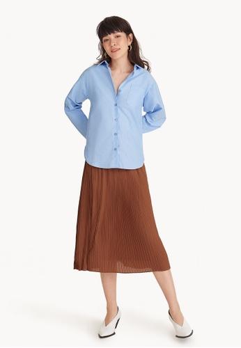 Pomelo blue Loose Fit Button Down Shirt - Blue 08D79AA033432AGS_1