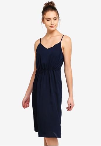 Cotton On navy Woven Mimi Rouched Midi Dress 15C65AA09328A2GS_1