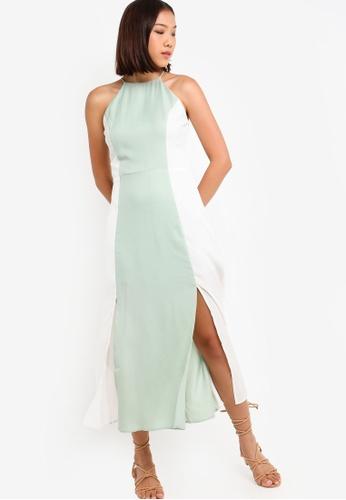 Something Borrowed 綠色 Cut In Double Slit Maxi Dress 210C4AAFCD8B79GS_1