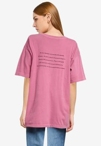 LOWRYS FARM pink Oversized Message Printed Tee C8AFCAA693A0EDGS_1