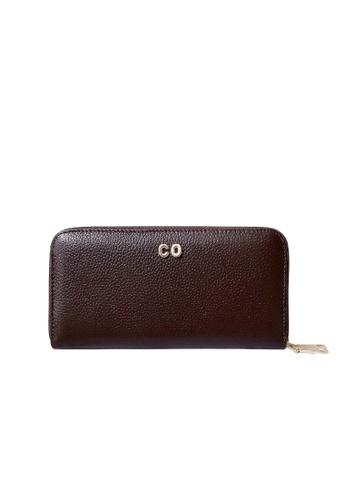 Vayne brown Personalised Leather Long Zip Wallet Dark Brown 968EBAC48139B8GS_1