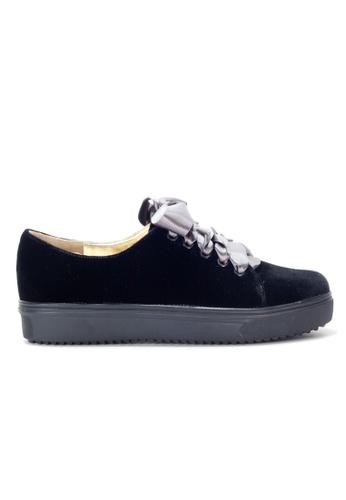 Shu Talk 黑色 絨毛絲帶綁帶輕便鞋 SH544SH0A2IFTW_1