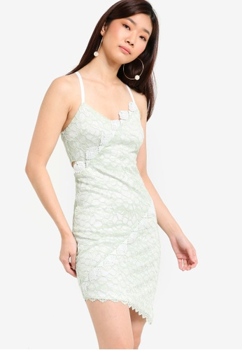 TOPSHOP green Lace Trim Dress TO412AA05PVMMY_1
