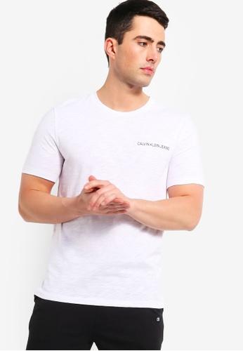 2ca2ccfb81bc Calvin Klein white Chest Institutional Regular Short Sleeve Tee - Calvin  Klein Jeans CC222AA5E86230GS_1
