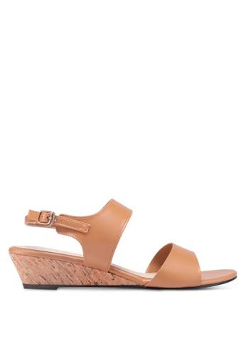 Bata 褐色 軟木楔型涼鞋 1DF32SH16F77A1GS_1
