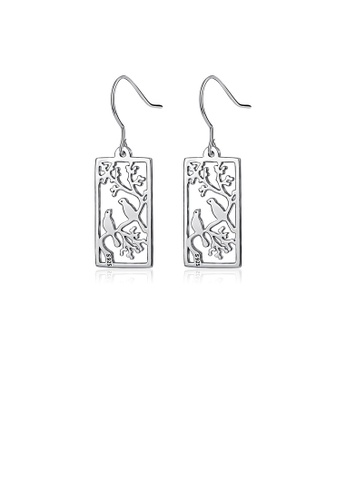 Glamorousky silver 925 Sterling Silver Fashion and Elegant Magpie Flower Geometric Square Earrings E8F57ACC5D1102GS_1