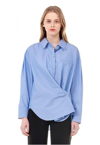 VOV(Voice of Voices) blue Slim Striped Shirt 478D8AAE789933GS_1