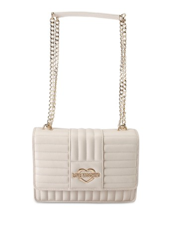 Love Moschino white Quilted Logo Chain Shoulder Bag FA0F1ACF6F198FGS_1