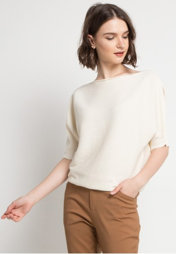 ELLE white and multi Batwing Knit Blouse E7C0FAAF4D1ACBGS_1