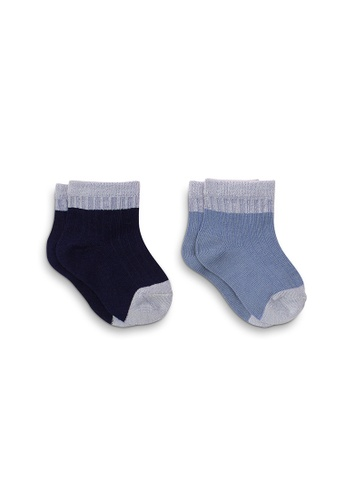 APAIR grey and blue and multi Two Toned Infant Quarter Socks 48DF1KA5393ACAGS_1
