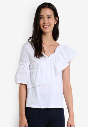 Mango white Ruffled Asymmetric T-Shirt MA193AA0RBVGMY_1