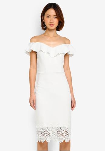 Dorothy Perkins white Bardot Ruffle Lace Hem Pencil Dress BA534AA345589AGS_1