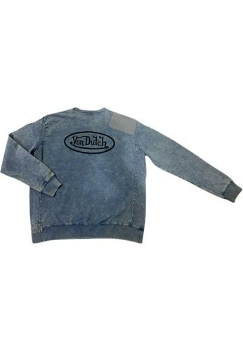 Von Dutch blue Von Dutch Flying Eyeball Embroidery Light Blue Washed Sweat Shirt 6808AAAEB2626CGS_1