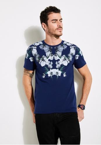 Guess blue Soto Floral-Print Tee 5D0E2AAD0DAE6DGS_1