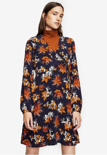 Mango multi and navy Floral Wrap Dress MA193AA0RTDLMY_1