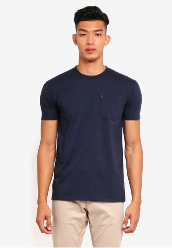 Penshoppe navy Relaxed Fit Pocketed T-Shirt 2EAA9AAF93D692GS_1