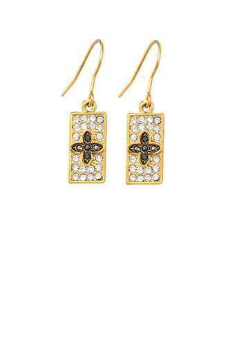 Glamorousky black Special Rectangle Earrings with Black and Silver Austrian Element Crystals 9A8E9AC2C7FF25GS_1
