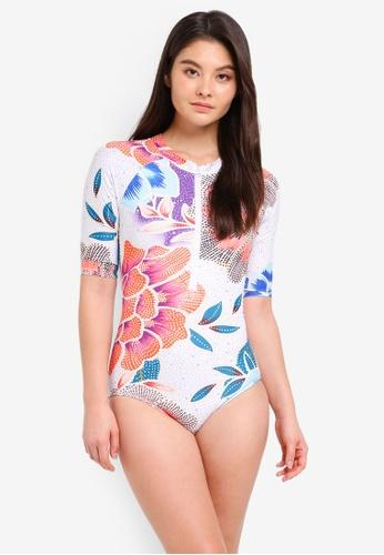 Malibu Beachwear multi Amaranth 3/4 Sleeve Rashguard Swimsuit F7672US8FCC8B3GS_1