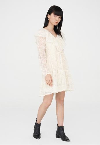 Pomelo beige Mini Lace Foldover Collar Dress - Cream C6EF5AA20C8DDFGS_1