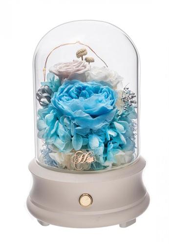 Her Jewellery white and blue Everlasting Preserved Rose - Celestial Speaker (Tiffany Blue) 5C8E0HL1322F54GS_1